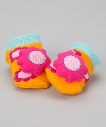 Orange & Magenta Flower Slipper Socks