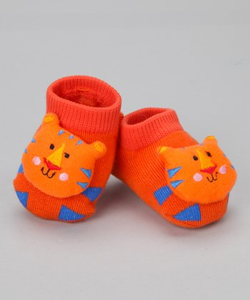 Orange & Blue Cat Slipper Socks