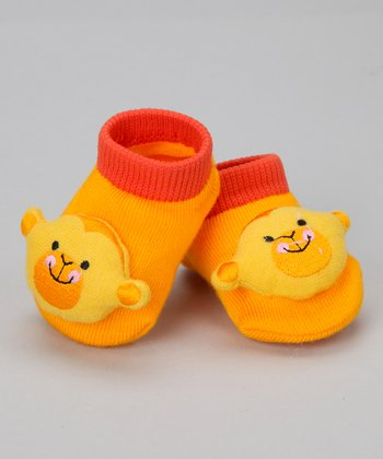Yellow Monkey Slipper Socks
