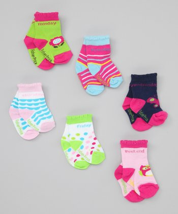 Fisher-Price Pink, Green & Blue Days of the Week Socks Set - Toddler