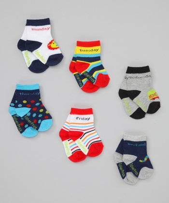 Fisher-Price Blue, Red & Yellow Days of the Week Sock Set - Toddler
