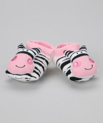 Black & Pink Zebra Slipper Socks