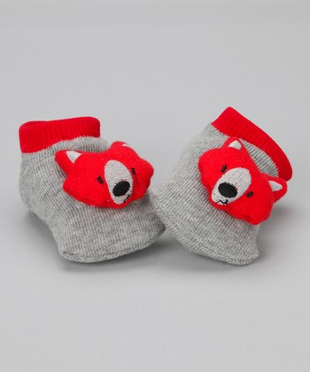 Gray & Red Fox Slipper Socks