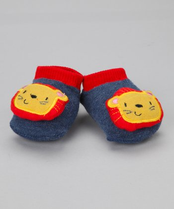Blue & Yellow Lion Slipper Socks