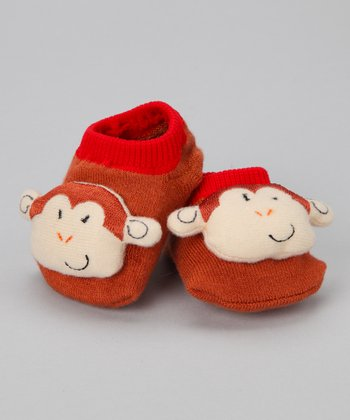 Brown Monkey Slipper Socks