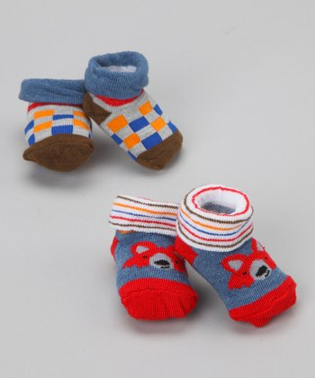 Red & Blue Fox Sock Set - Infant
