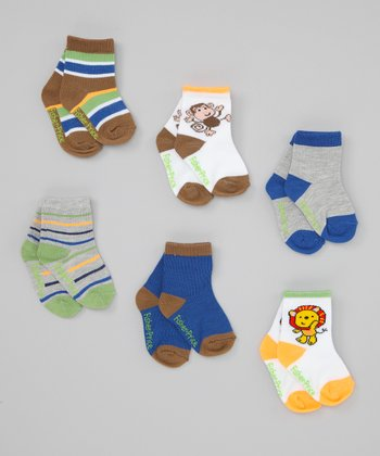 Brown, Blue & Orange Stripe Socks Set - Toddler