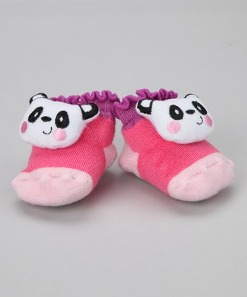 Pink & Purple Panda Slipper Socks - Infant