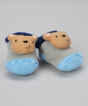 Blue & Gray Bear Slipper Socks - Infant