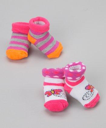 Fisher-Price Pink & Purple Stripe & Butterfly Socks Set - Infant