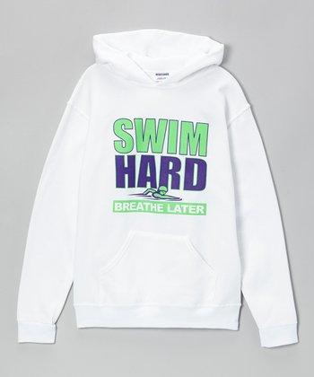 Dance World Bazaar White 'Swim Hard Breathe Later' Hoodie - Girls & Women