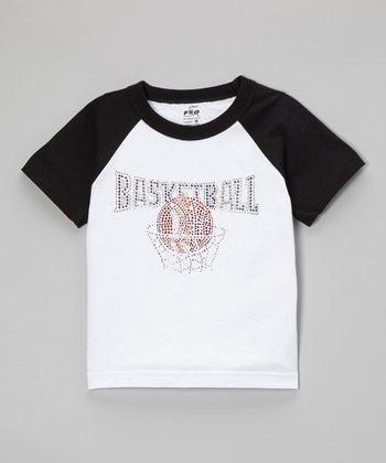 Black Rhinestone 'Basketball' Raglan Tee - Toddler & Kids