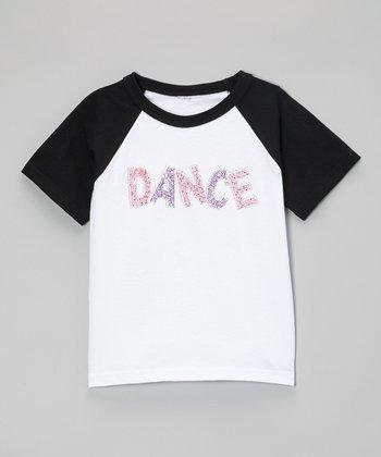 Black Rhinestone 'Dance' Raglan Tee - Toddler & Kids