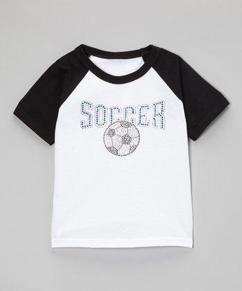 Black & Blue Rhinestone 'Soccer' Raglan Tee - Toddler & Kids