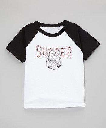 Black & Red Rhinestone 'Soccer' Raglan Tee - Toddler & Kids
