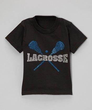 Black Rhinestone 'Lacrosse' Tee - Toddler & Kids