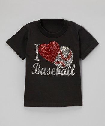 Black Rhinestone 'I Love Baseball' Tee - Toddler & Kids