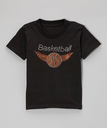 Black Rhinestone 'Basketball' Tee - Toddler & Kids