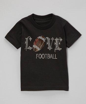 Black Rhinestone 'Love Football' Tee - Toddler & Kids