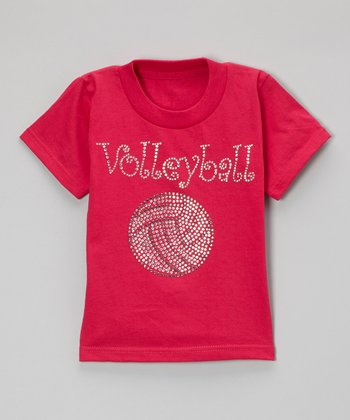 Hot Pink Rhinestone 'Volleyball' Tee - Toddler & Kids