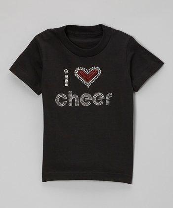 Black Rhinestone 'I Love Cheer' Tee - Toddler & Kids