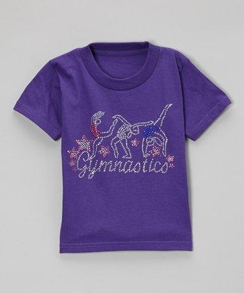 Purple Rhinestone 'Gymnastics' Tee - Toddler & Kids