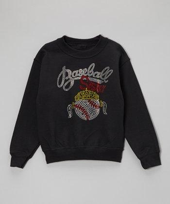 Black Rhinestone 'Baseball Sister' Sweatshirt - Toddler & Kids