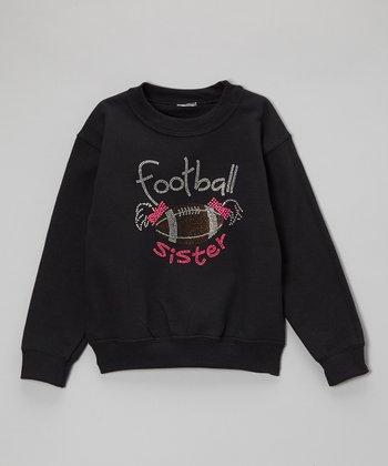 Black Rhinestone 'Football Sister' Sweatshirt - Toddler & Kids