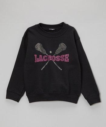 Black Rhinestone 'Lacrosse' Sweatshirt - Toddler & Kids