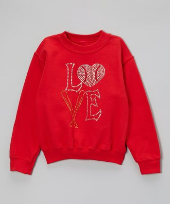 Red Rhinestone 'Love' Sweatshirt - Toddler & Kids