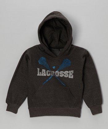 Dark Gray Rhinestone 'Lacrosse' Hoodie - Toddler & Kids