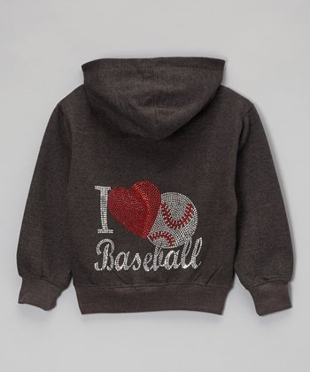 Dark Gray Rhinestone 'I Heart Baseball' Hoodie - Toddler & Kids