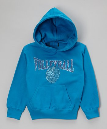 Turquoise & Pink Rhinestone 'Volleyball' Hoodie - Toddler & Kids