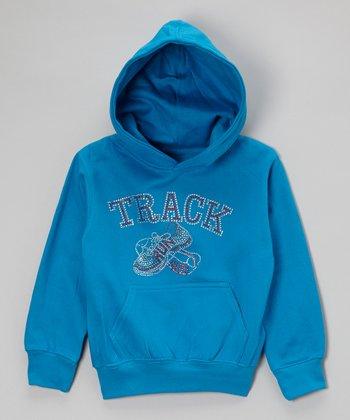 Turquoise Rhinestone 'Track' Hoodie - Toddler & Kids