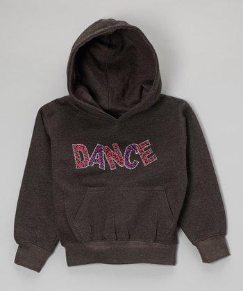 Dark Gray Rhinestone 'Dance' Hoodie - Toddler & Kids