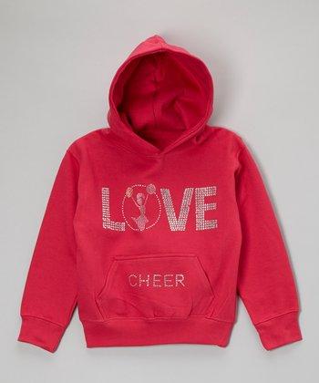 Hot Pink Rhinestone 'Love Cheer' Hoodie - Toddler & Kids