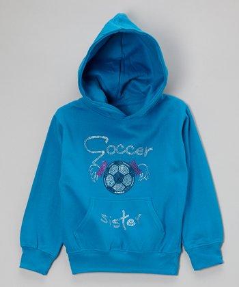 Turquoise Rhinestone 'Soccer Sister' Hoodie - Toddler & Kids