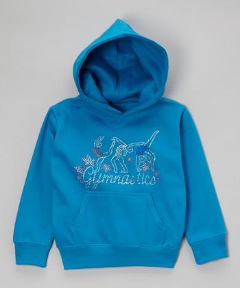 Turquoise Rhinestone 'Gymnastics' Hoodie - Toddler & Kids