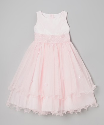 Pink Lace Tiered Dress - Girls