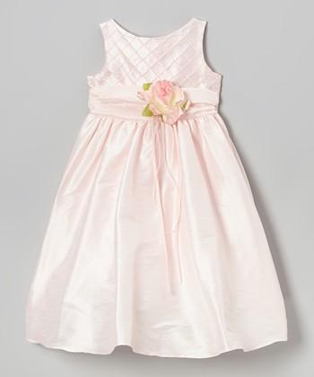 Pink Lattice Rose Dress - Girls