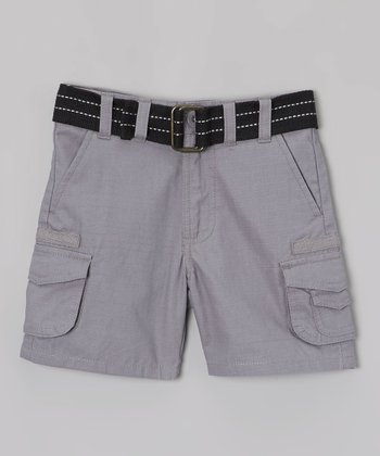 Nickel Gray & Black Belted Cargo Shorts - Toddler
