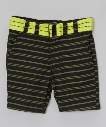 Black & Yellow Stripe Belted Shorts - Toddler