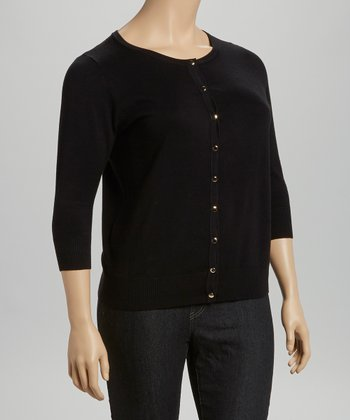 Black Three-Quarter Sleeve Cardigan - Plus