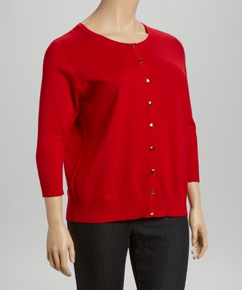 Red Three-Quarter Sleeve Cardigan - Plus