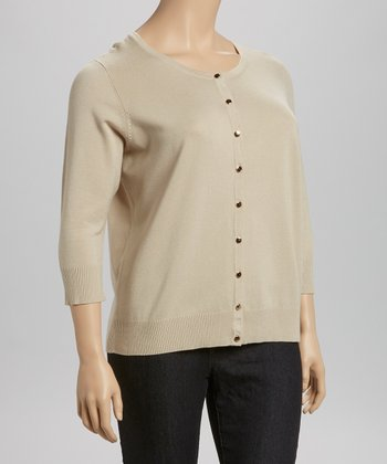Khaki Three-Quarter Sleeve Cardigan - Plus