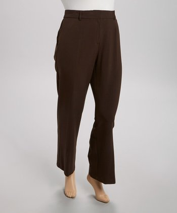 Brown Perfect Bootcut Pants - Plus