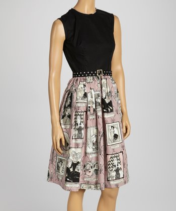 Black & Mauve Ghastlie Reunion Belted Sleeveless Dress - Women