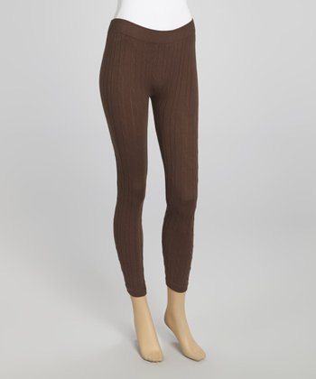 Brown Cable-Knit Leggings