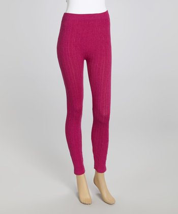 Berry Cable-Knit Leggings