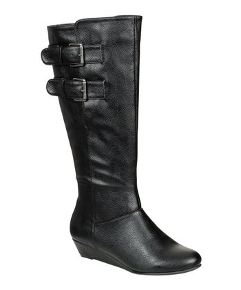 Black Buckle Tamara Wedge Boot